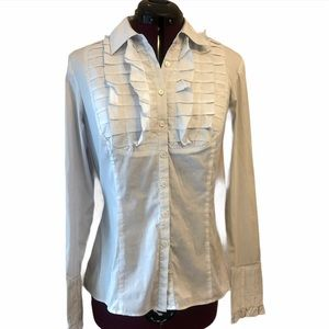 Alfani fitted blouse with pleats and ruffles